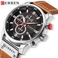 Часы Reloj CURREN 8291 мужские  спортивные  водонепроницаемые  кварцевые  с кожаным ремешком