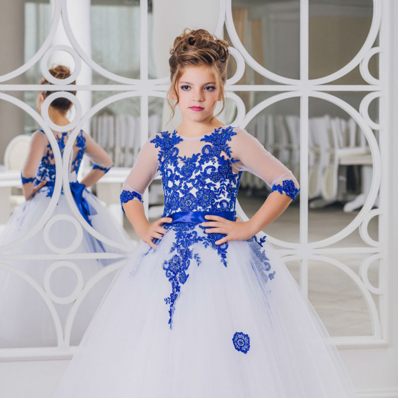 White/Blue Tulle Applique Flower Girl Princess Pageant Prom Birthday Ball Gowns wedding dress