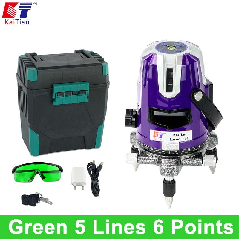 KaiTian 5 Lines 6 Points Laser Level Green Cross Level Leveling 360 Rotary Tilt Slash Outdoor Function Lazer Level Laser Lines