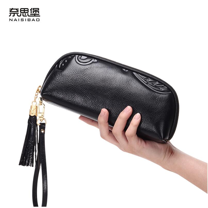 NAISIBAO 2018 New luxury women genuine leather bags fashion Superior cowhide women leather clutch bag women leather wallets beep 2018 new superior cowhide fashion women genuine leather bag simple women leather shoulder bag women s bag