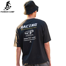 Pioneer camp Pure 100% Cotton Men Short Sleeve Printed Casual O-neck Loose Summer T shirt Tops Tees black ADT901093