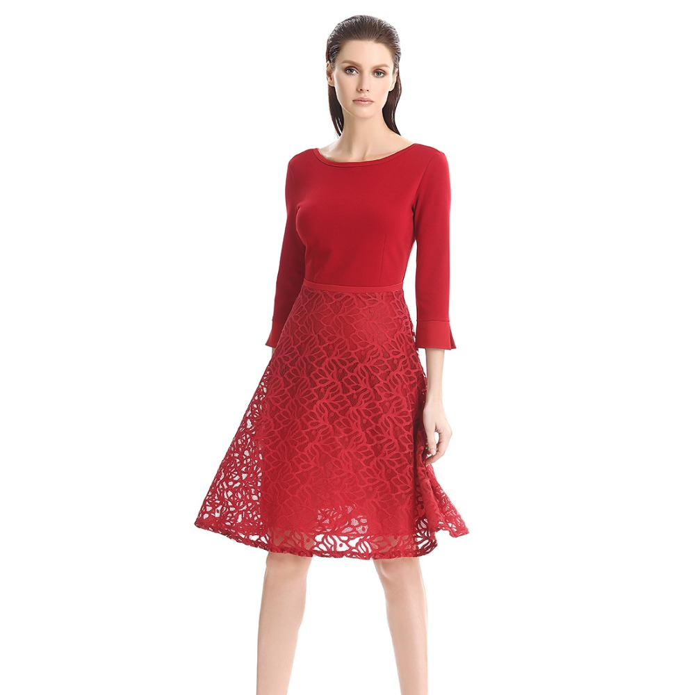 Women Lace Pencil Dresses Autumn Lady Casual Business Office Three