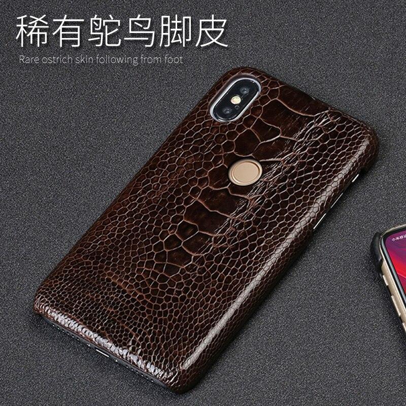 D'autruche véritable Pied Peau étui de téléphone pour xiaomi mi 6 8 A1 A2 Lite Max 2 mi x2S Note 5 Pour Rouge mi Note 4 4X5 5A Plus Couverture