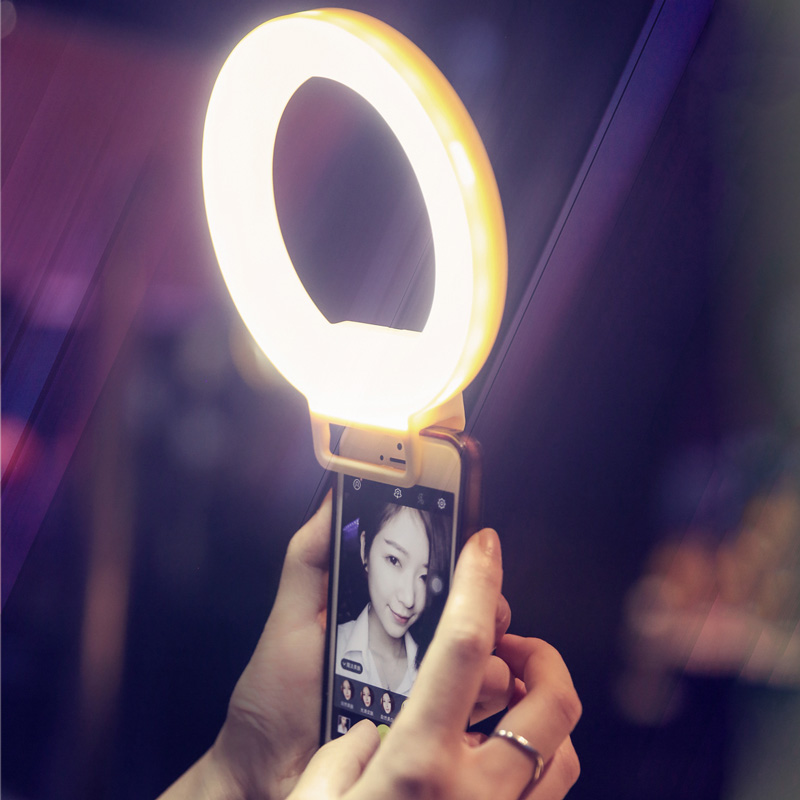 Luz de anillo de Selfie LED de carga USB para iPhone 7X8 Xs iluminación suplementaria de teléfono oscuridad nocturna Selfie mejora la luz de relleno