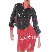 Latex Lipstick Pencil Skirt latex coat shirt