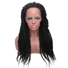 цена на Synthetic Lace Front Wig Afro American Braided Wigs for Black Women Mambo Crochet Braid Wig 14''-24'' Heat Resistance Long Wig