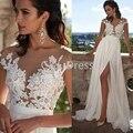 Beach 2016 A-Line Wedding Dresses Side Slit Elegant Lace Chiffon Plus Size Wedding Bridal Gowns Dress Appliques vestido de noiva