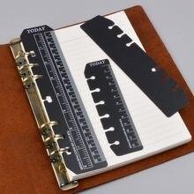 Marcador régua para anéis notebook 6 buraco a5 tamanho pessoal elástico ferramenta de desenho partição de plástico macio para planejador e organizador