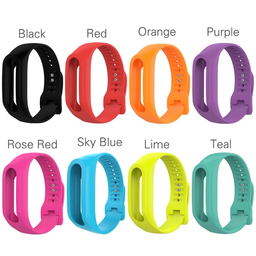 Փափուկ ամուր գունագեղ ժապավենային ժապավենի փոխարինող սիլիկոնե ժամացույցի պարագաներ Tom Tom Touch Fitness Tracker Smart Watch- ի համար