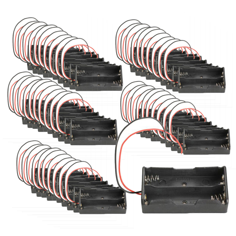 50*Black Double Slot 18650 Battery holder 3.7V Clip Holder Box Case With Wire Lead Battery Storage Box 18650 Battery Holder цена