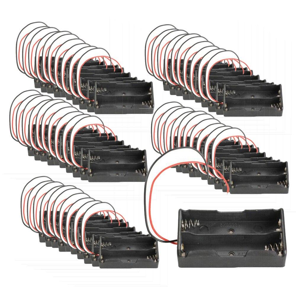 50 * noir Double Slot 18650 support de batterie 3.7 V clip de fixation boîte avec fil plomb boîte de stockage de batterie 18650 support de batterie
