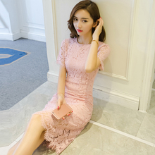 2017 New Summer Style Sexy Lace Dress Hollow Out Party Dress white/pink/blue Dresses short Sleeve High Waisted Summer slim dress