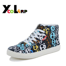 New 2016 Fashion Skull Pattern Men Casual Canvas Shoes Men's High-top Shoes 39-44  Men's Casual Canvas Shoes Wholesale