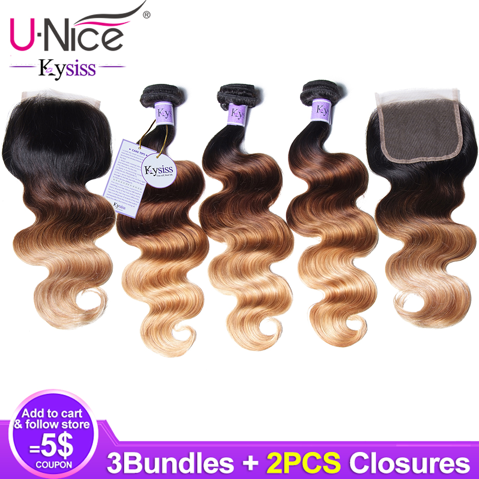 Unice Hair 8A Kysiss Series Ombre Body Wave 3 Bundles with 2 Closure Hair Extension Ombre