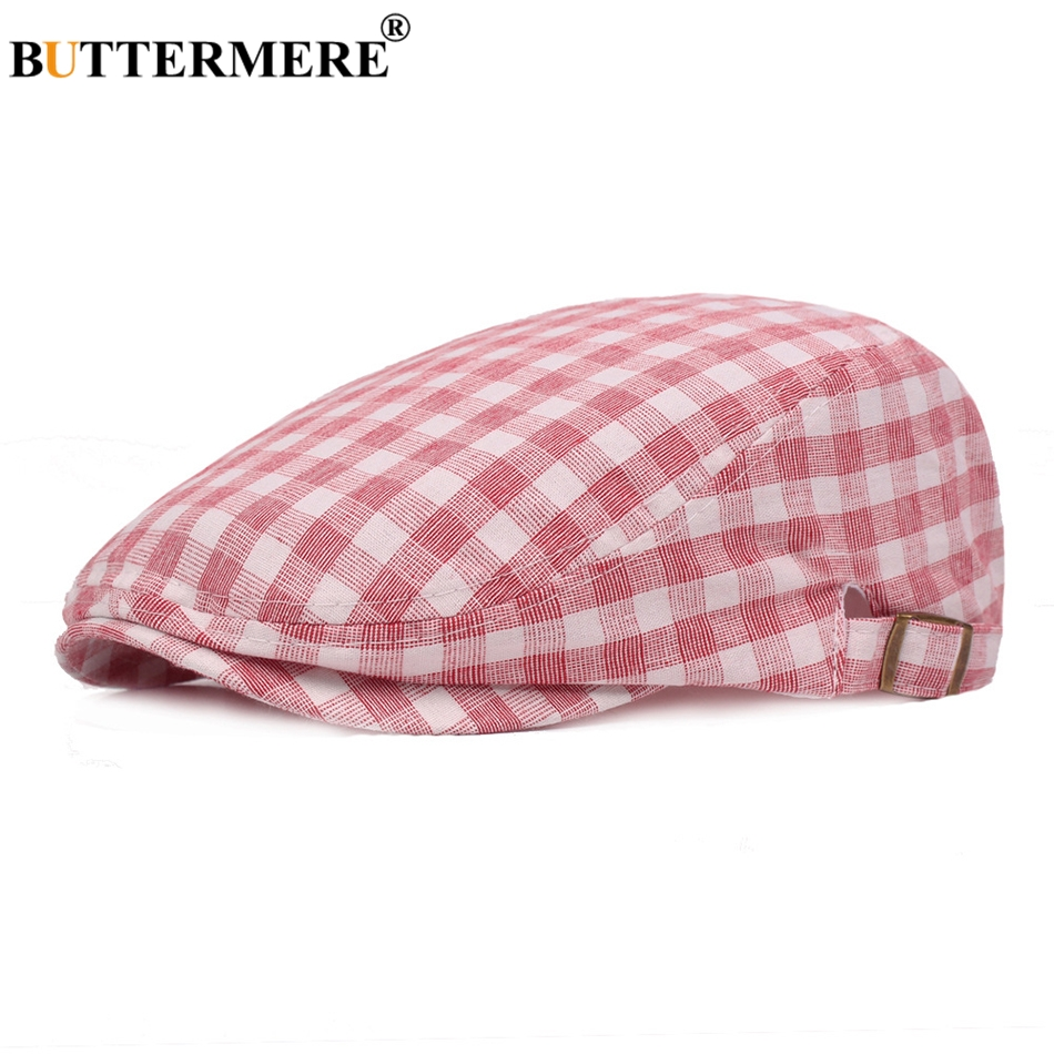 BUTTERMERE Berets Flat-Hat Summer Duckbill-Caps Plaid Classic Adjustable Autumn Cotton