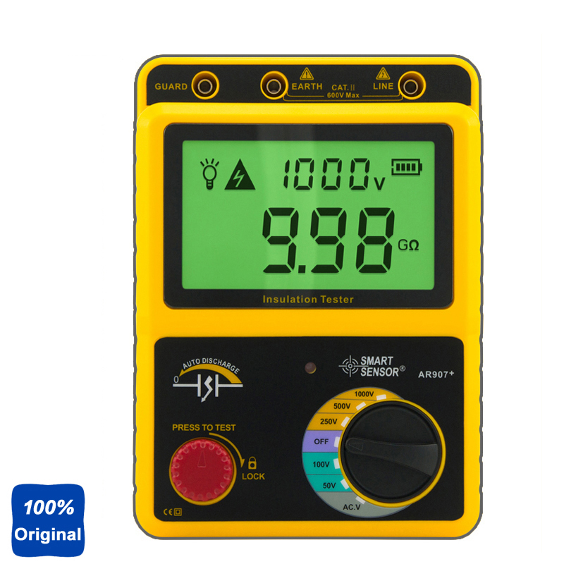 AR907 1000v Digital Insulation Resistance Tester Voltage Meter Megger Test hyelec ms5203 digital megger 1000v insulation resistance tester meter dc ac voltage resistance insulation tester