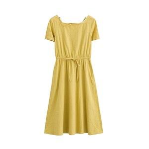 Image 5 - INMAN Summer Wear New Round Neckline High Waist Belt Show Thin Short sleeved Dress Medium Length Dress