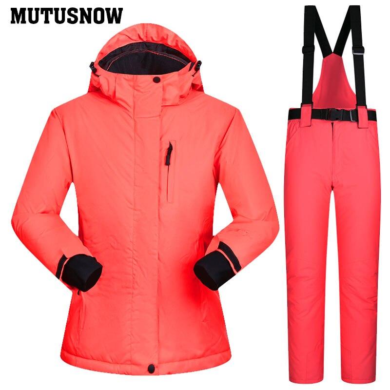 Snowboard costumes femmes hiver coupe-vent imperméable femme veste de Ski et pantalons de neige ensembles Super chaud marques femmes Ski costume - 4