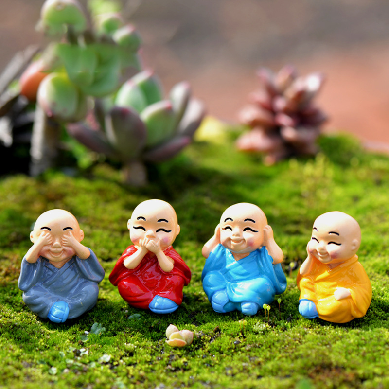 4pcs/Set Mini Buddha Figurines Miniature For Home Bonsai Decoration Micro Landscape Decor