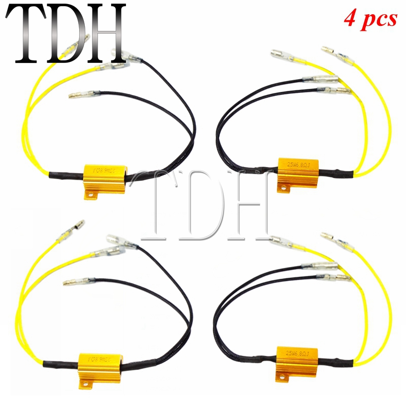 4pcs Motorcycle 12V 25 W 6.8 Ohms LED Flasher Resistor Indicator Turn Signals Light Load Resistors Universal