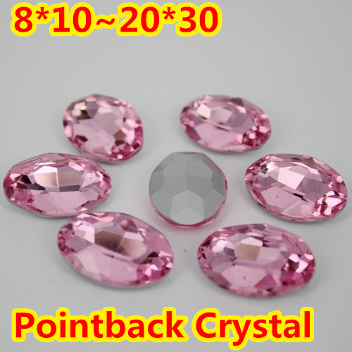 Rosa claro Forma Oval Crystal Fancy Stone Point Volver Cristal de Piedra Para La Joyería de DIY Accessory.10 * 14mm 13*18mm 18*25mm 20*30mm