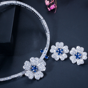 Image 4 - CWWZircons CZ Crystal Red Rose Flower Women Choker Necklace and Earrings Bridal Jewelry Set for Wedding Dress Accessories T211