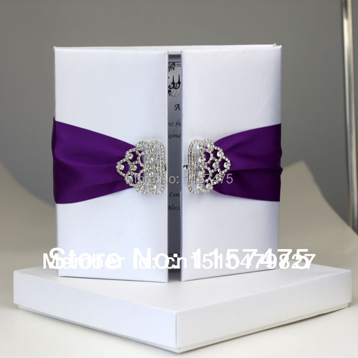 HI2002   Hot Sale Silk Wedding Invitation Box With Rhinestone Brooch(China)