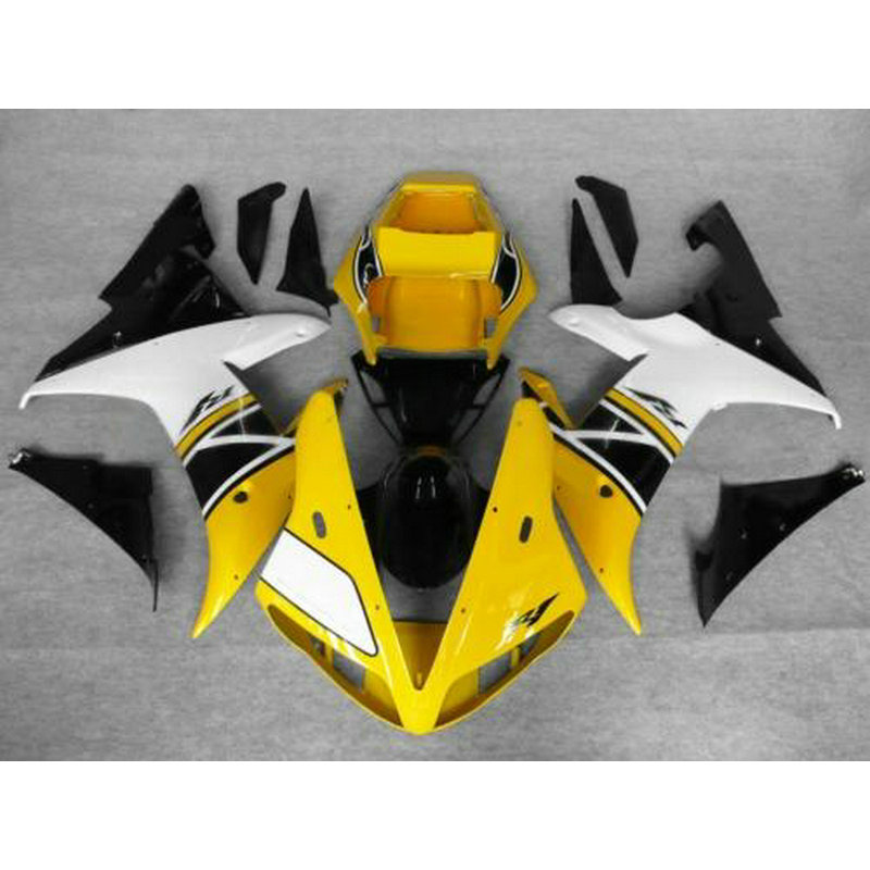 Full injection fairings set for YAMAHA R1 2002 2003 YZF R1 02 03 white yellow aftermarket fairing parts hot sales cowling body kit for yamaha yzf r1 2002 2003 yzf1000 02 03 yzf r1 abs plastic motorcycle fairing injection molding