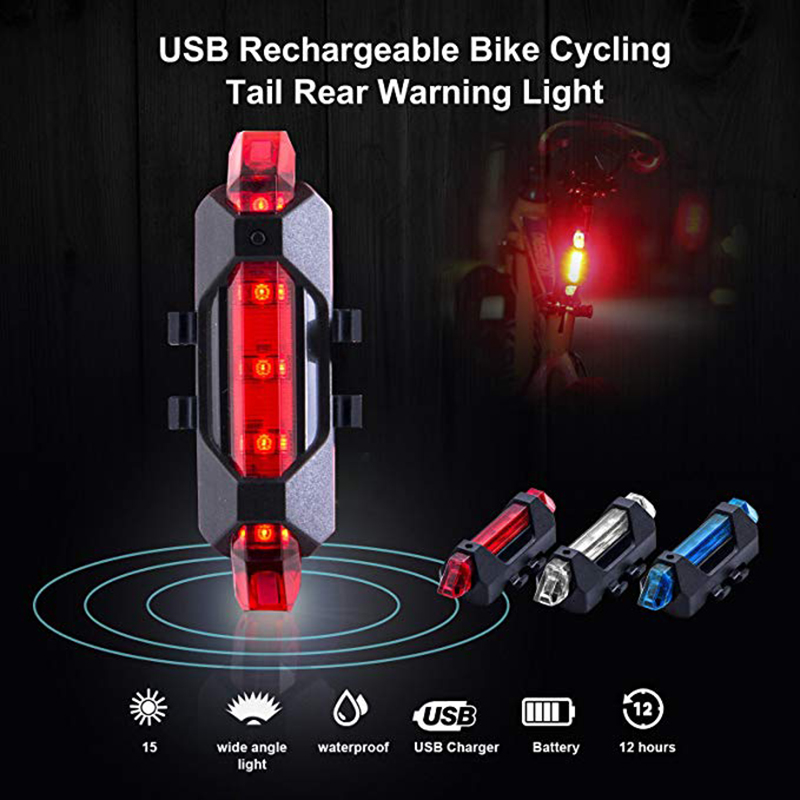 Waterproof Bike Taillight Riding Rear Light Led Usb Chargeable Mountain Bike Cycling Light Tail-lamp Bicycle Light