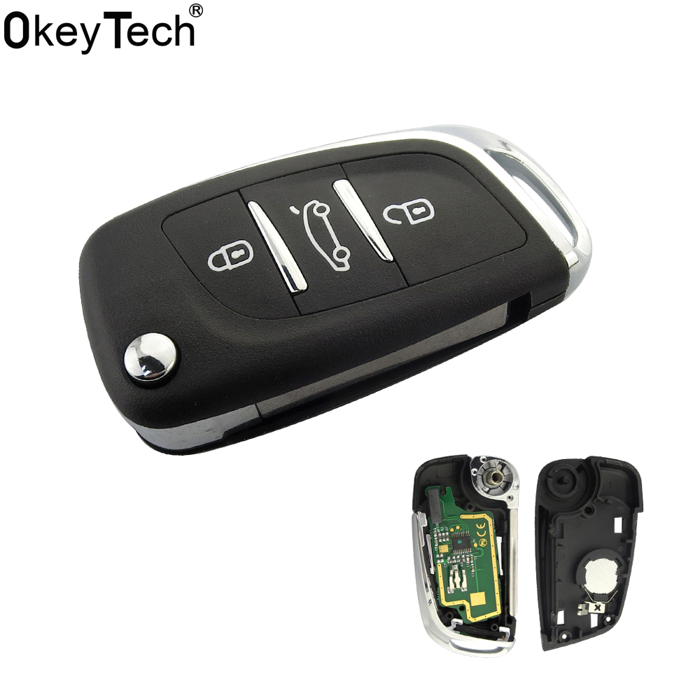OkeyTech ID46 Chip Modified Folding Remote Key Fob 3 BTN For Peugeot 307 408 308 For Citroen C2 C3 C4 C5 C6 Xsara Grand Picasso okeytech silicone case for citroen c4 c5 c3 c2 c4l xsara picasso for peugeot 208 207 308 rcz 408 407 307 206 car flip key cover