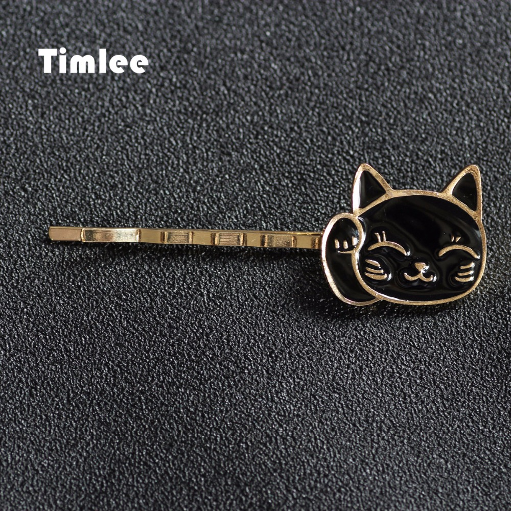 Timlee <font><b>H002</b></font> Free Shipping Cartoon Lovely Plutus Cat Metal Hair Clip hair accessory wholesale image