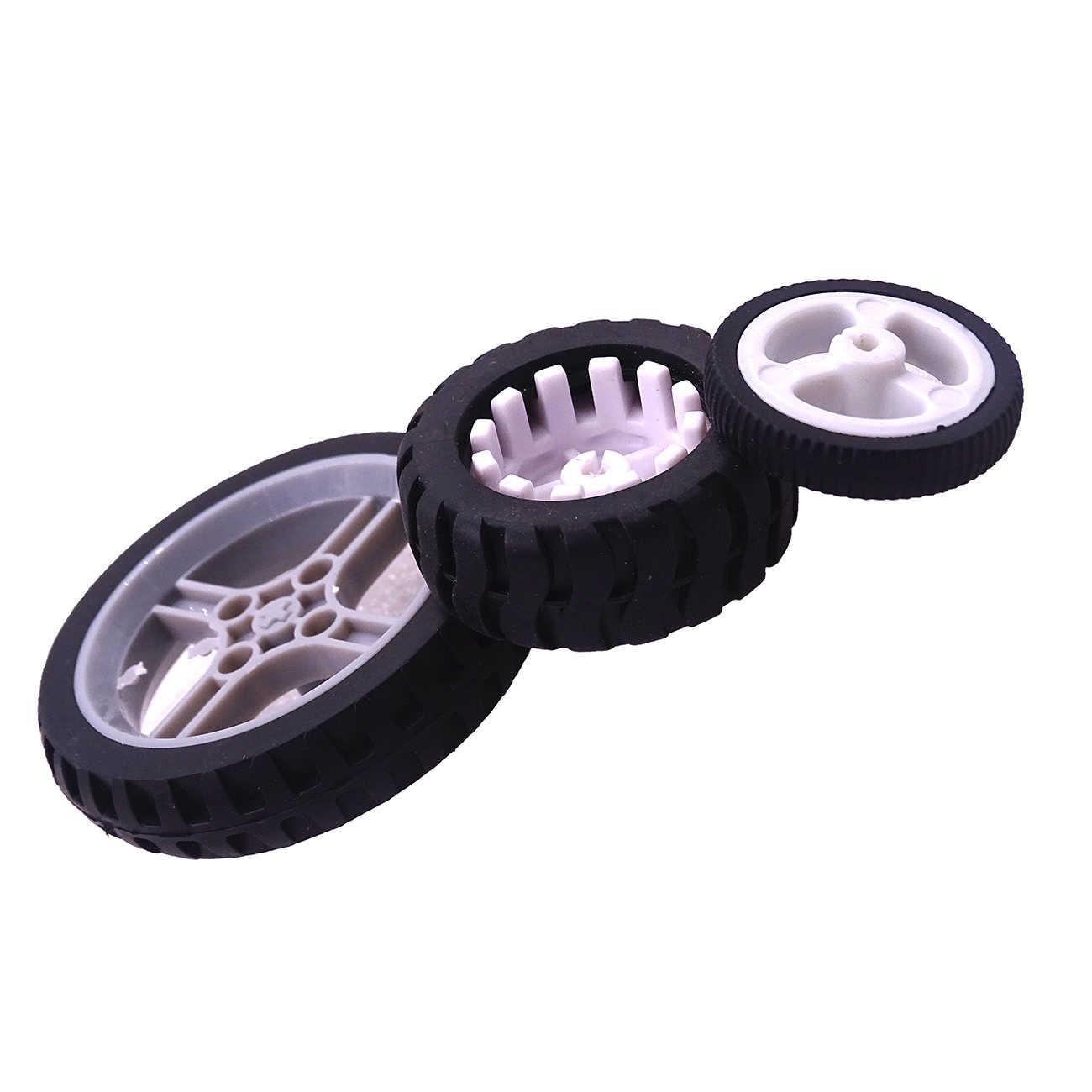 Novo design d-buraco roda de borracha adequado para n20 motor d eixo pneu carro robô brinquedos diy peças