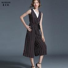 Summer deep V Striped Wide Leg Jumpsuit Romper Women Elegant Sleeveless Backless Playsuits Casual Loose Pants Overalls CAPRIS