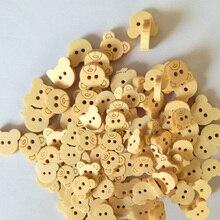 50Pcs Wooden Buttons Cartoon Bear Wood Buttons Natural Wood Sewing Kids Children Wear Button for Clothing DIY Scrapbooking