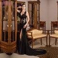 Robe de soirée Sexy hendidura lateral elegante negro encaje vestido de noche 2016 Abendkleider V-Neck vestidos fiesta largo vestidos de noche