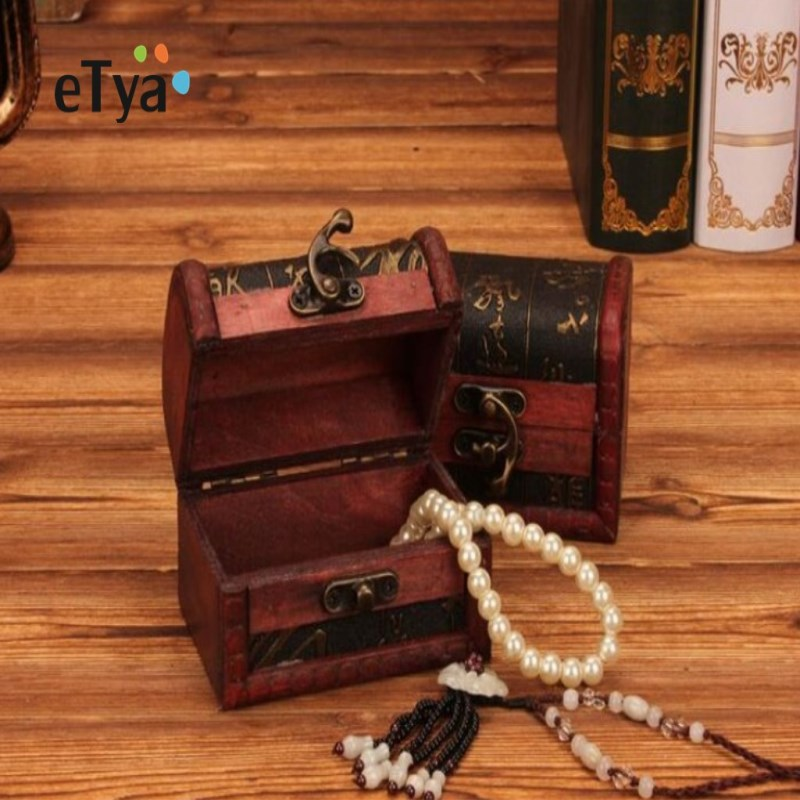 Storage Box vintage Wooden Box Jewelry Box Wedding Gift Makeup organizer Cosmetic Earrings Ring Desk Rangement Wooden Organizer