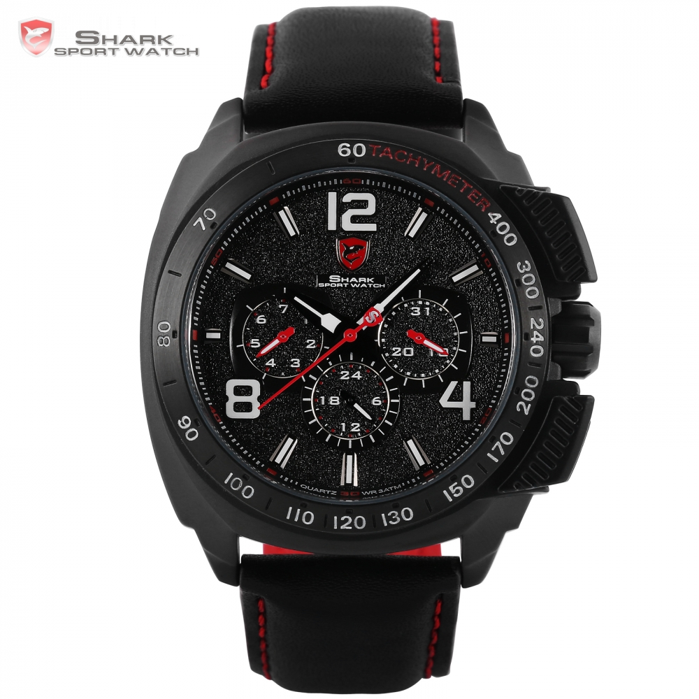 Tiger Shark Sport Watch Luxury Brand Men Red 6 Hands Quartz Date Hrs Casual Leather Relogio Masculino 3ATM Gift Box / SH417 shark sport watch luminous hands relogio