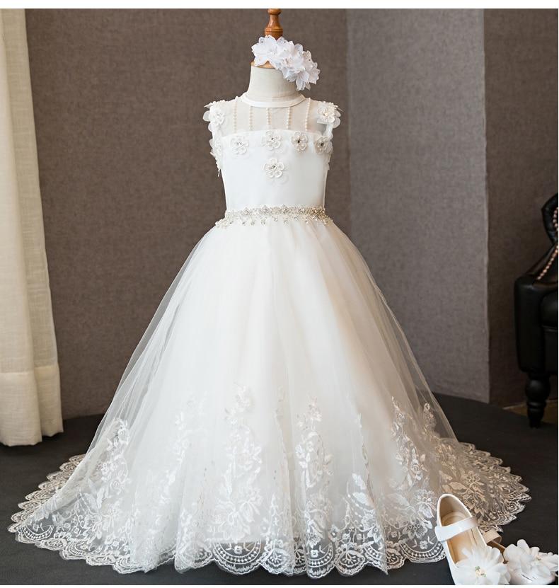 2018 autumn fancy kids trailing wedding flower girls dress princess birthday party pageant formal dress prom dress for girls цена