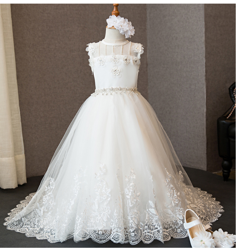 2018 winter fancy kids trailing wedding flower girls dress princess birthday party pageant formal dress prom dress for girls princess dress for girls party prom princess pageant dress dress girls