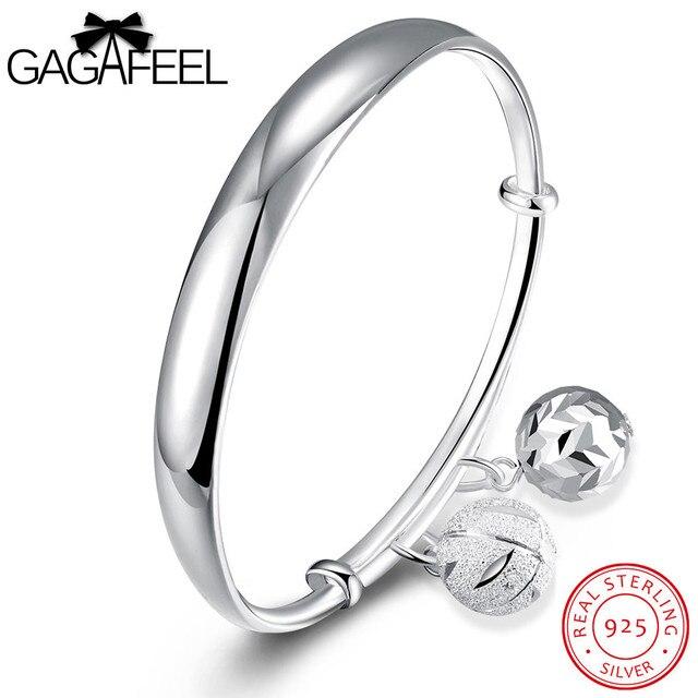 GAGAFEEL Wedding Jewelry Sweet 925 Sterling Silver Lob Bangles Bracelets for Women Adjustable Bangle Watch Bracelets For Bride