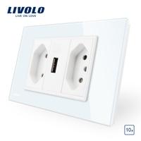Livolo Brazilian/Italian Standard 3Pins 10A +USB Socket, White Glass panel Without Plug, C9C2UBR1 11
