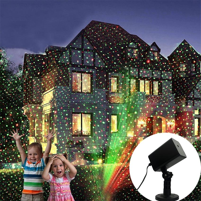 Christmas Red & Green Laser Projector Lights Waterproof Outdoor Garden Yard Landscape Spotlights For Holidays Parties Events