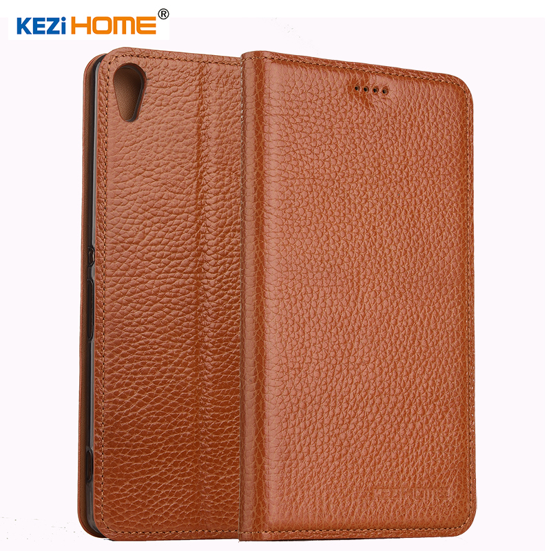 KEZiHOME for Sony Xperia C6 case Flip genuine leather soft silicon back for Sony Xperia XA Ultra cover