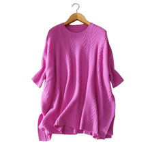 Lady's 100% cashmere knitted loose long thick pullover sweater with half sleeves O-neck