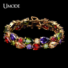 UMODE Luxury Bracelets & Bangles  Gold Plated My Mona Lisa Charm Bracelets For Women Jewelry With Multicolor AAA CZ AUB0008