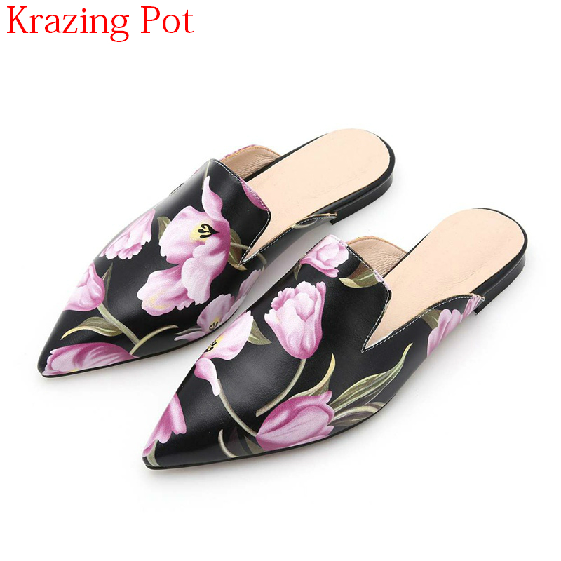 2018 Fashion Sheep Skin Summer Shoes Women Flats Mixed Colors Flowers Mules Superstar Pointed Toe Slingback Outside Slippers L37 krazing pot sheep suede rabbit fur superstar preppy style bowtie casual shoes pointed toe flats sweet women outside slippers l71