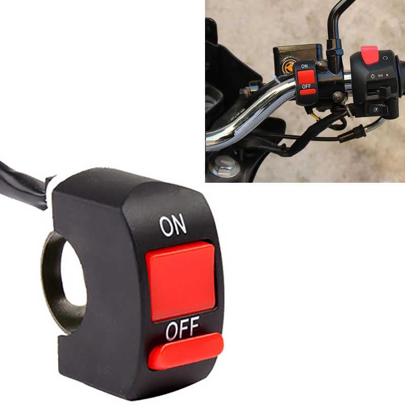 Universal Motorcycle Handlebar Fog Light Switch ON-OFF Button Switch 12VDC For U5 U7 LED Head Lamp Angel Eyes Light