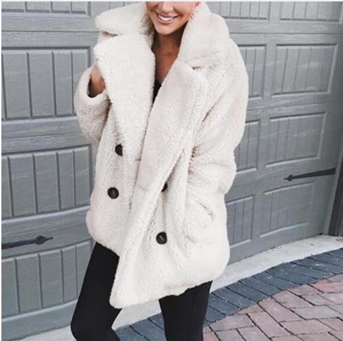 2019 Winter Faux Fur Teddy Bear Coat Jacket Women Fashion Open Stitch Hooded Coat Female Long Sleeve Fuzzy Jacket Coat