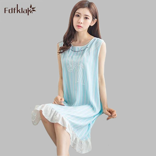 fb06916527 2017 New summer women nightgown cotton striped sleeveless sleep dresses  ladies nightshirts blue pink girls nightdress A712