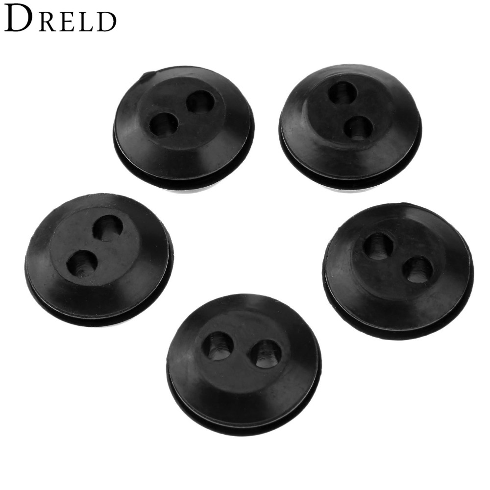 DRELD 5Pcs Brush Cutter Grass Trimmer Fuel Oil Pipe Hose Rubber Washer With 2 Holes Replacement Fuel Tank Pipe Tool Parts Set